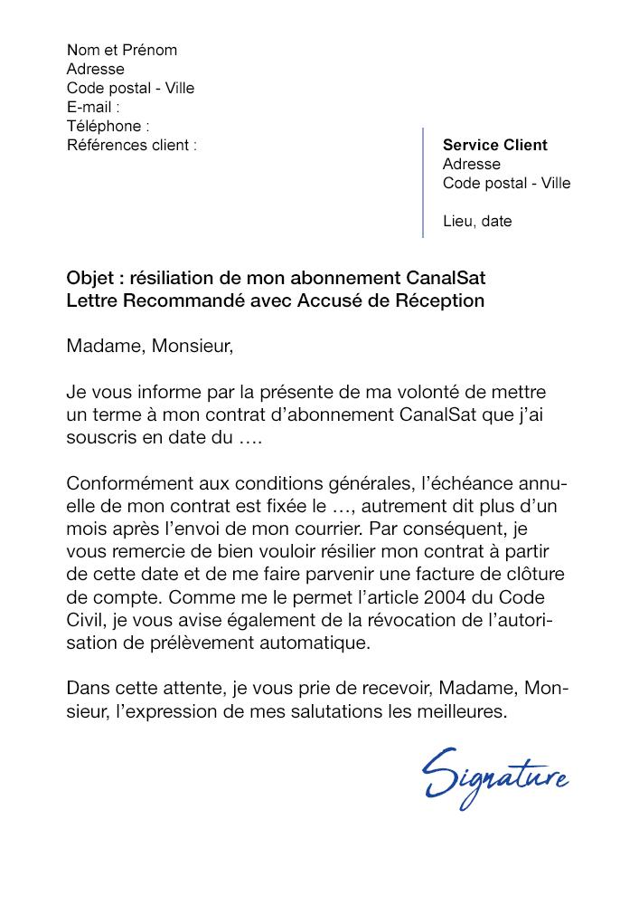 lettre de r u00e9siliation canalsat