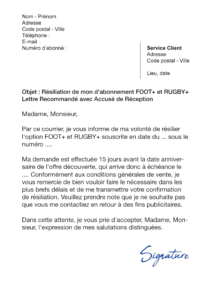 lettre de résiliation foot+ rugby+