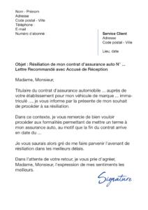 lettre de résiliation assurance auto à échéance (date anniversaire)