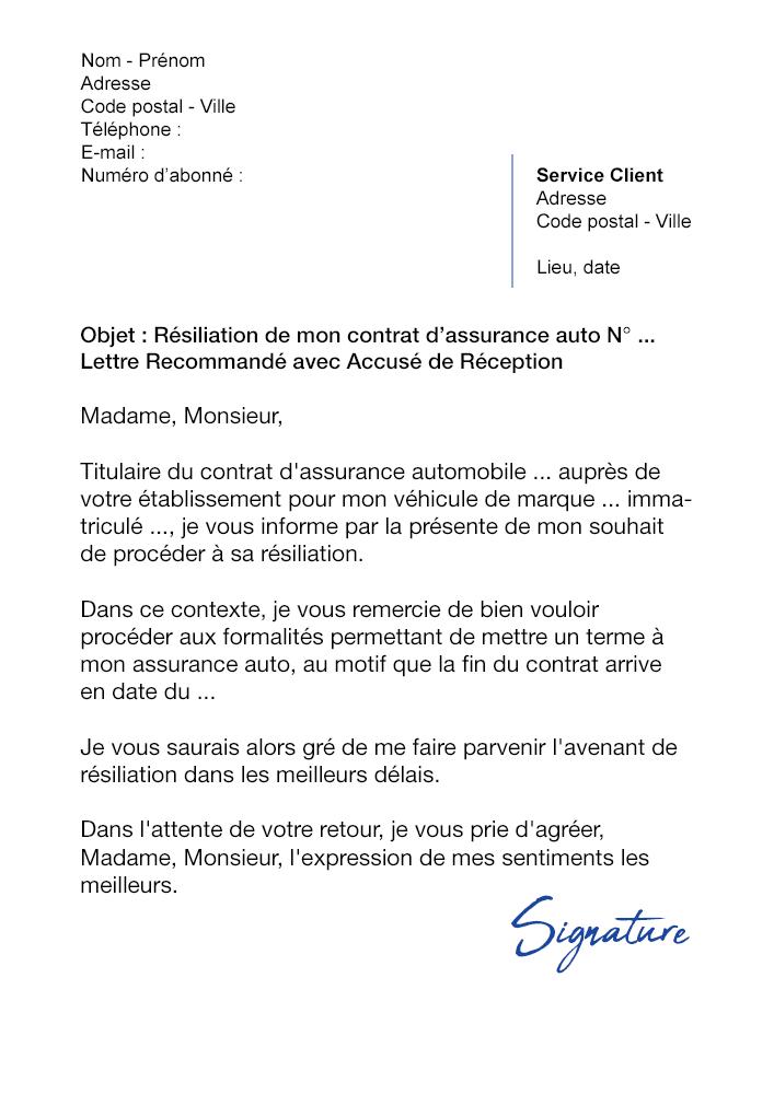 lettre de r u00e9siliation assurance auto  a  u00e9ch u00e9ance    date