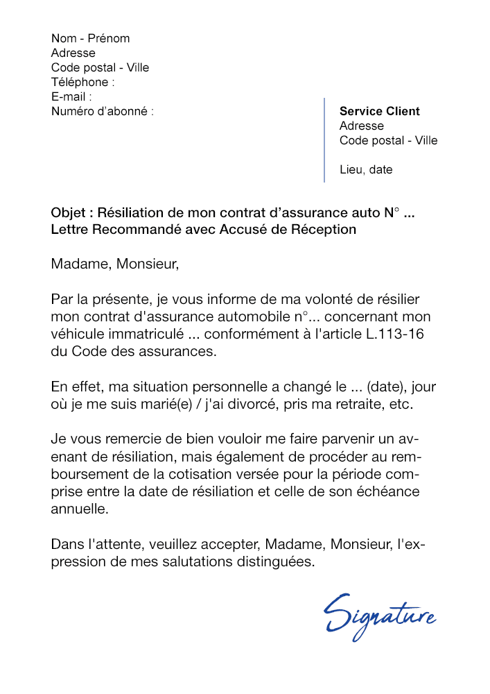 lettre de r u00e9siliation assurance auto  avant  u00e9ch u00e9ance