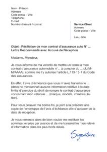 lettre de résiliation assurance auto loi chatel