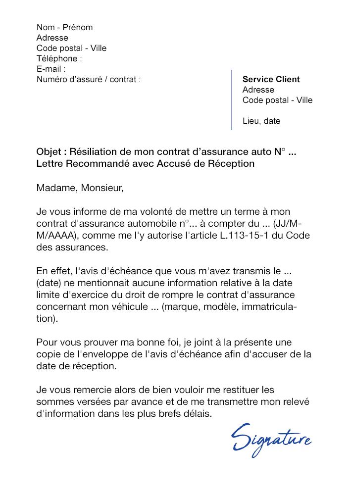 Lettre De Résiliation Assurance Auto Loi Chatel Modèle