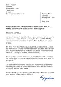 lettre de résiliation assurance auto loi hamon