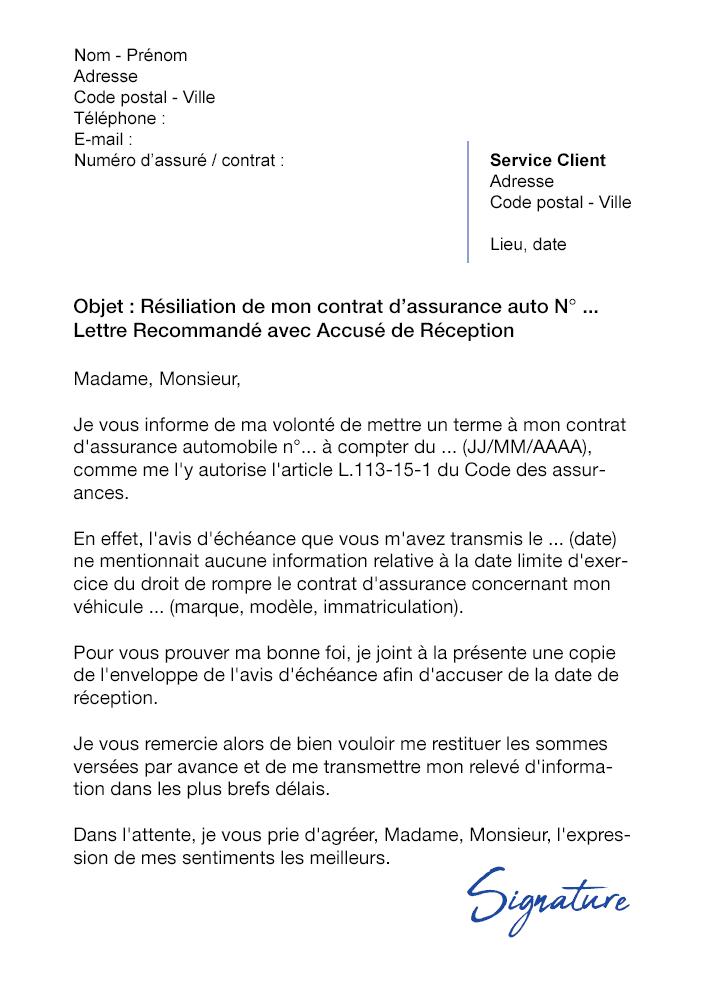lettre de r u00e9siliation assurance auto  loi hamon