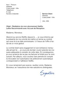 lettre de résiliation netflix