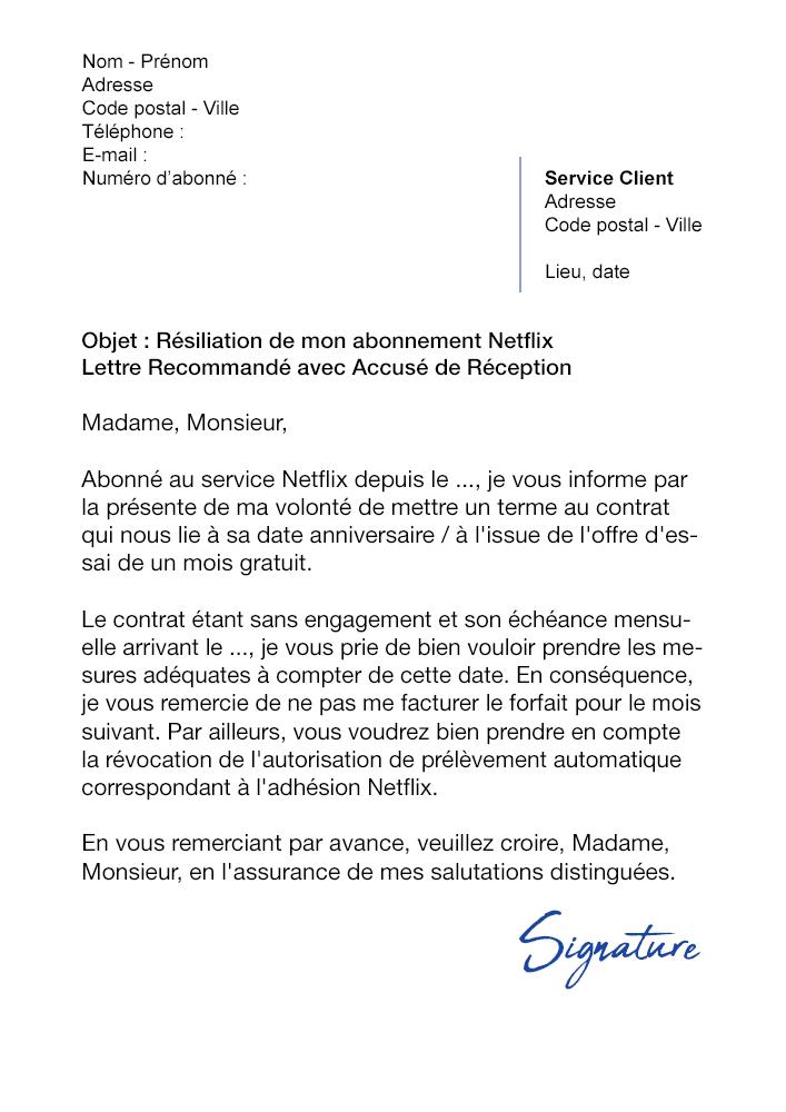 lettre de r u00e9siliation netflix