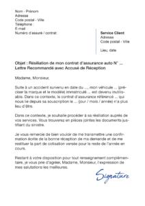 lettre de résiliation assurance auto accident