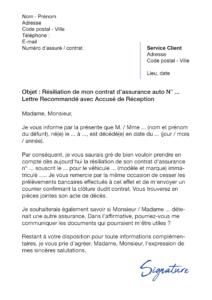 lettre de résiliation assurance auto suite à un décès