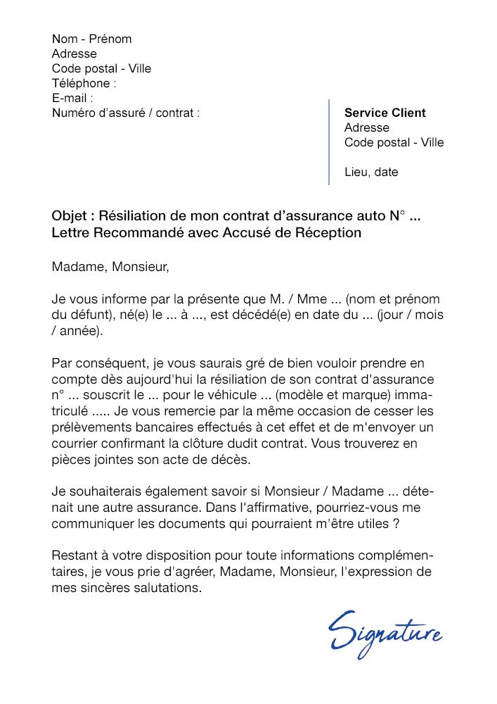 lettre de r u00e9siliation assurance auto suite  u00e0 un d u00e9c u00e8s