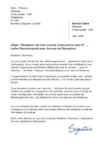 lettre de résiliation assurance auto déménagement