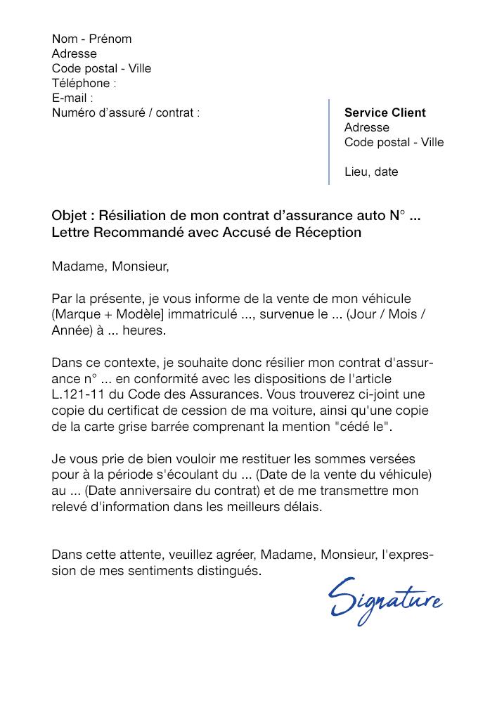 lettre de r u00e9siliation assurance auto suite  u00e0 une vente