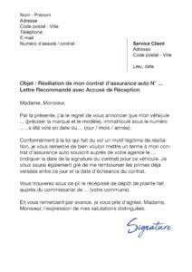lettre de résiliation assurance auto vol