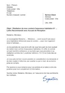 lettre de résiliation assurance habitation arrivant à échéance