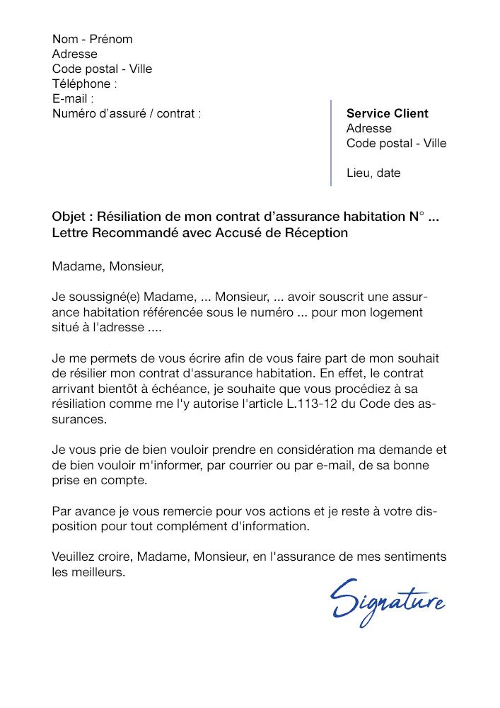 lettre de r u00e9siliation assurance habitation  a  u00e9ch u00e9ance