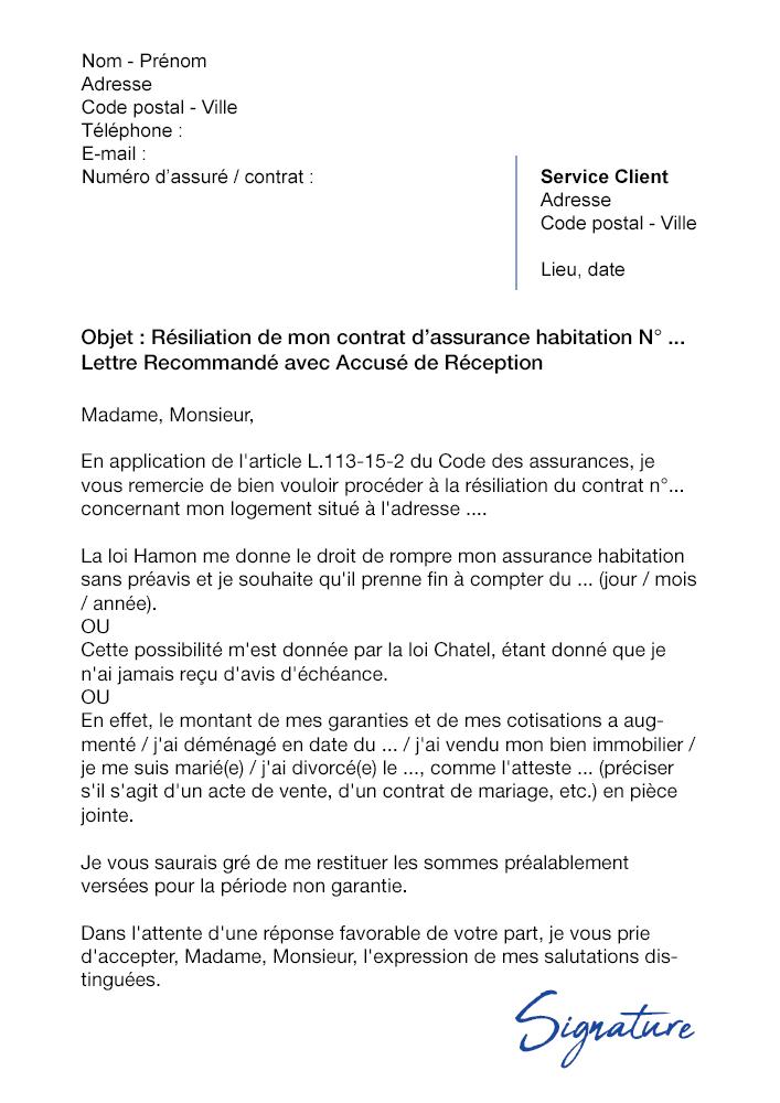 lettre de r u00e9siliation assurance habitation axa