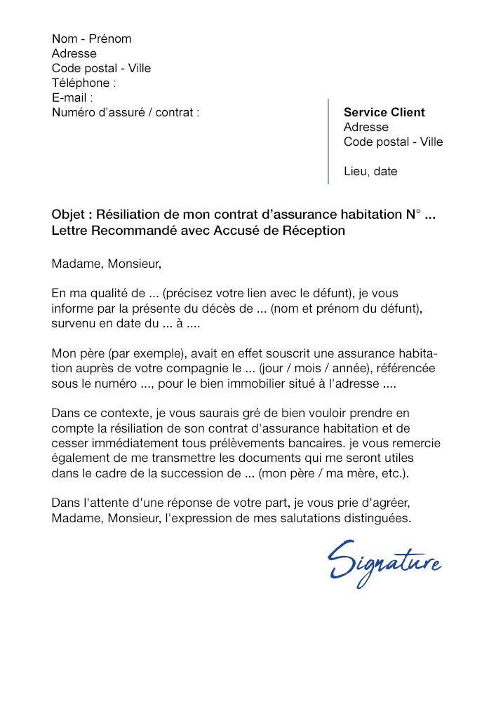 lettre de r u00e9siliation assurance habitation suite  u00e0 un