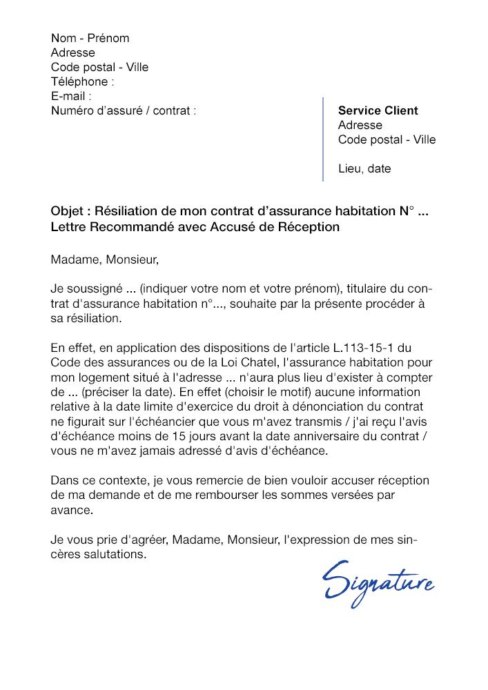 lettre de r u00e9siliation assurance habitation  loi chatel