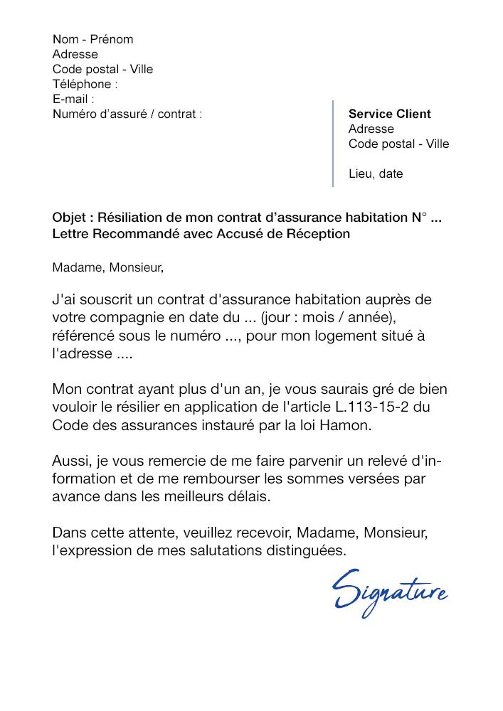 lettre de r u00e9siliation assurance habitation  loi hamon
