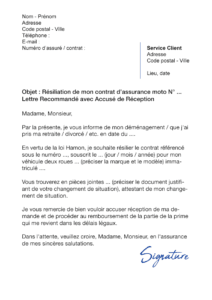 lettre de résiliation assurance moto
