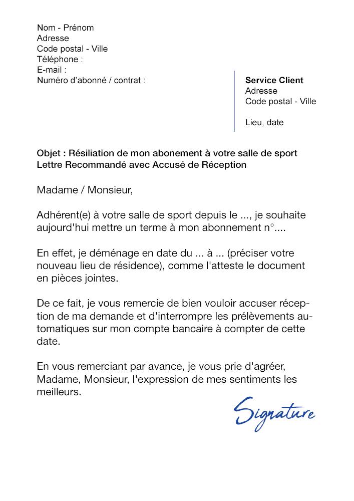 lettre de r u00e9siliation salle de sport  d u00e9m u00e9nagement
