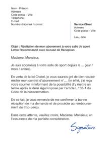 lettre de résiliation salle de sport loi chatel