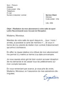 lettre de résiliation salle de sport loi hamon