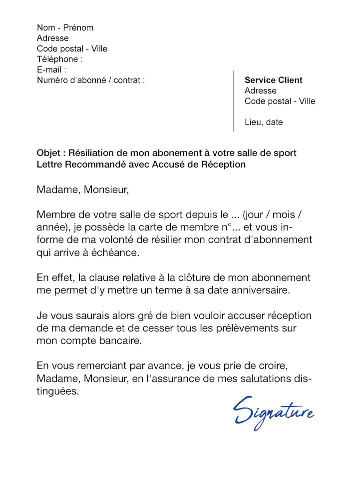 Lettre De Résiliation Salle De Sport Loi Hamon Modèle De