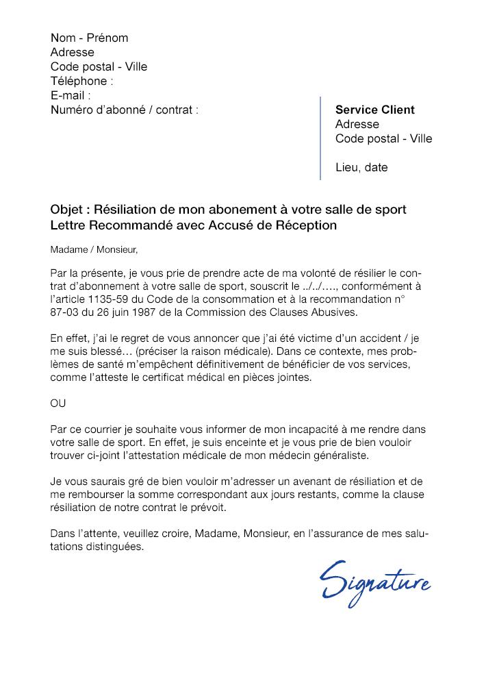 Lettre De Resiliation Salle De Sport Pour Raison Medicale Modele