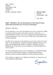 lettre de résiliation salle de sport raison médicale