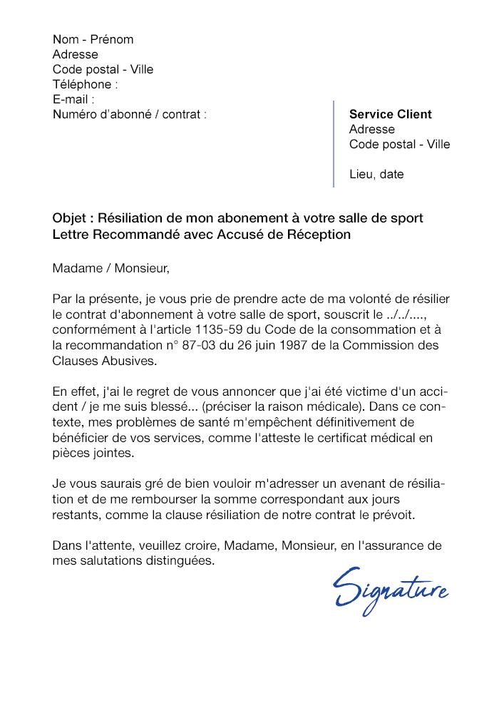 Lettre De Résiliation Salle De Sport Pour Raison Médicale