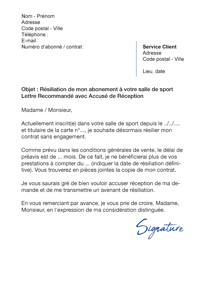 lettre de r u00e9siliation salle de sport  sans engagement