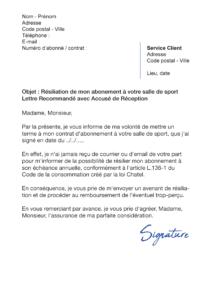 lettre de résiliation salle de sport sans préavis