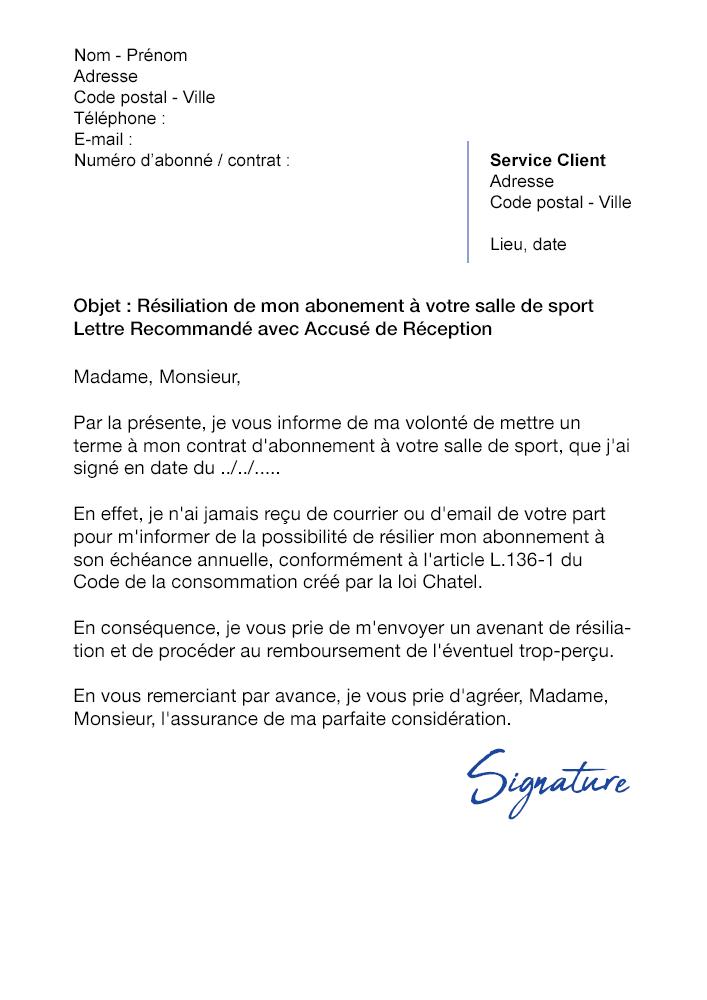 lettre de r u00e9siliation salle de sport  sans pr u00e9avis