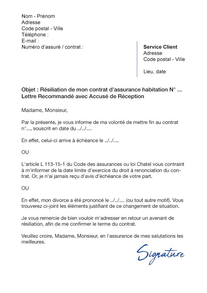 lettre de r u00e9siliation assurance habitation bnp