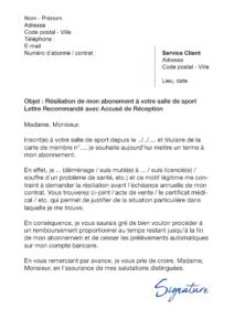 lettre de résiliation salle de sport Amazonia