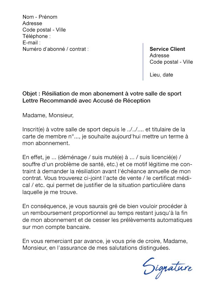 Lettre De Résiliation Salle De Sport Amazonia Modèle De