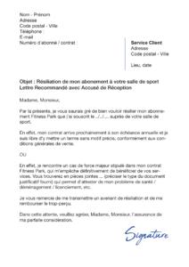 lettre de résiliation salle de sport fitness park