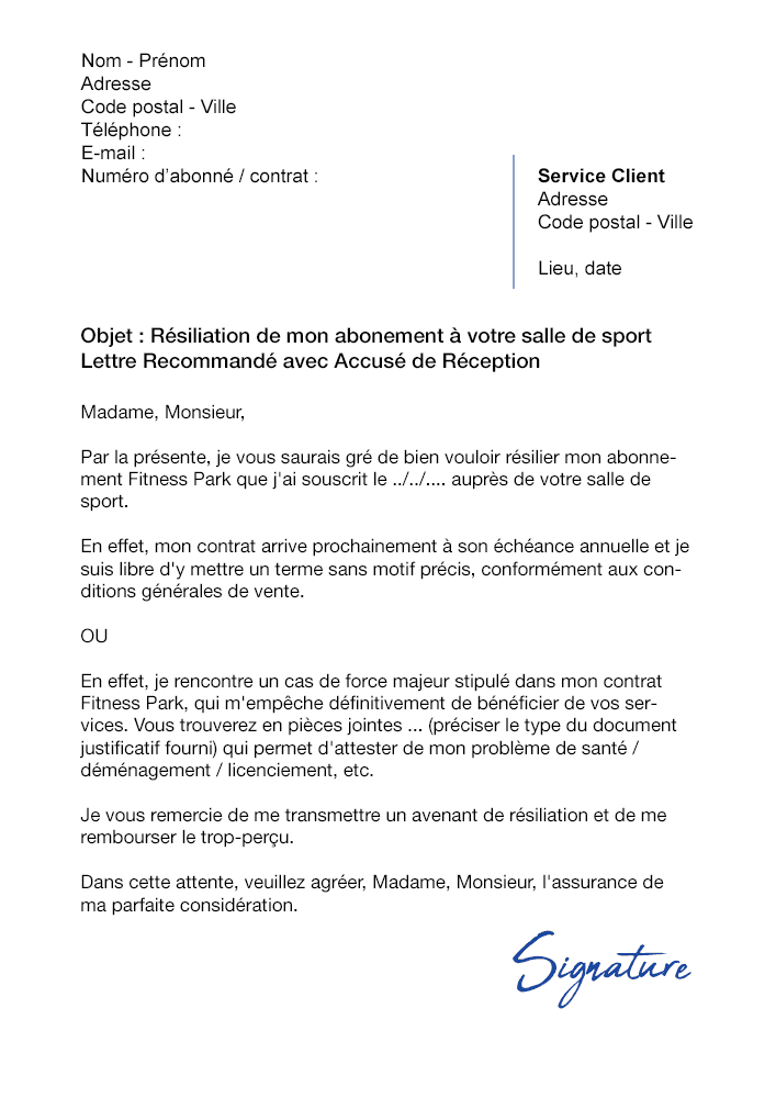 Lettre De Résiliation Salle De Sport Fitness Park Modèle
