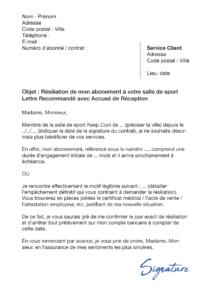 lettre de résiliation salle de sport keep cool