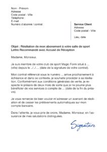 lettre de résiliation salle de sport magic form