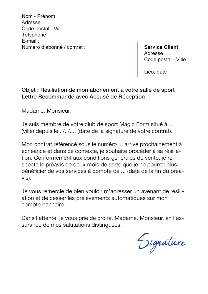lettre de r u00e9siliation salle de sport magic form