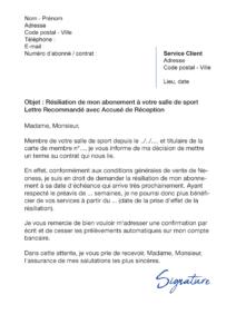 lettre de résiliation salle de sport neoness