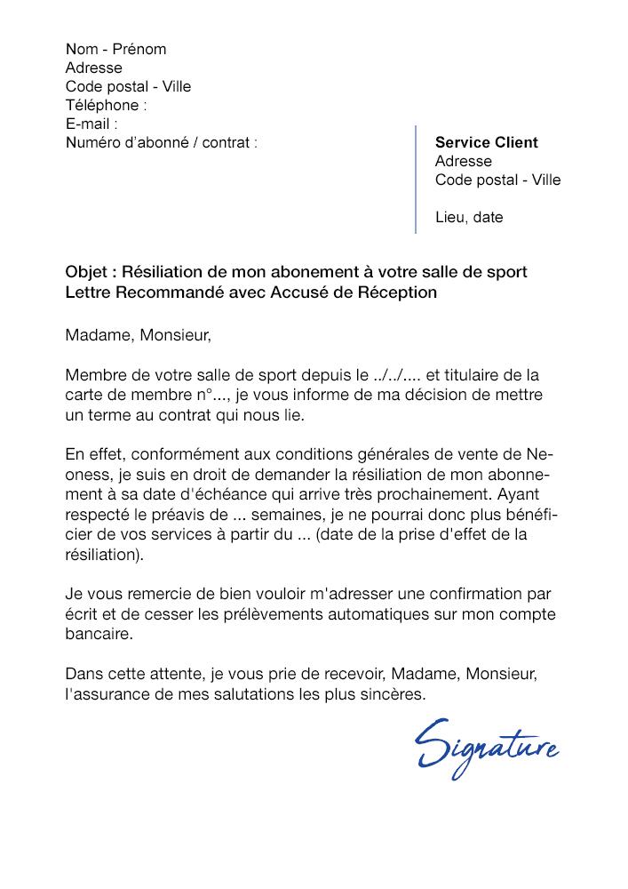 Lettre De Résiliation Salle De Sport Neoness Modèle De