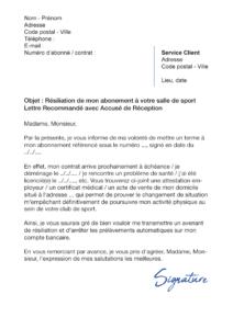 lettre de résiliation salle de sport orange bleue