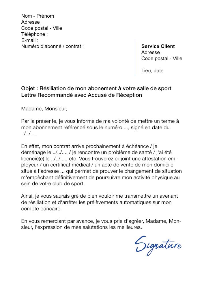 lettre de r u00e9siliation salle de sport orange bleue