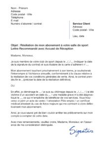 lettre de résiliation salle de sport symply gym
