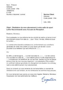 lettre de résiliation salle de sport vita liberté