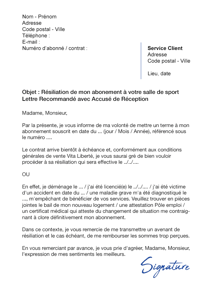 Lettre De Resiliation Salle De Sport Vita Liberte Modele De