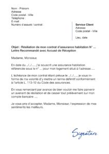 lettre de résiliation assurance-habitation crédit agricole